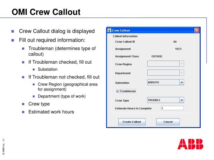 OMI Crew Callout