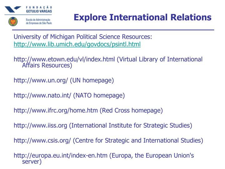 Explore International Relations