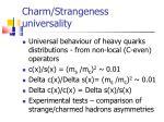 charm strangeness universality