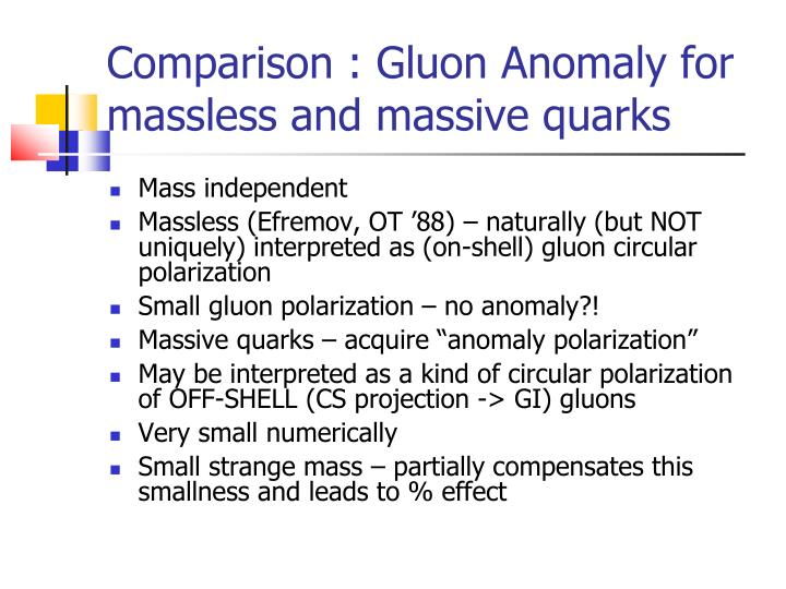 Comparison : Gluon Anomaly for massless and massive quarks