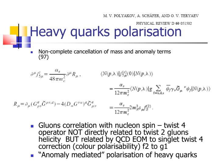 Heavy quarks polarisation