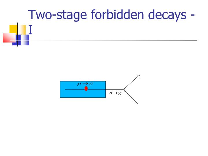 Two-stage forbidden decays - I