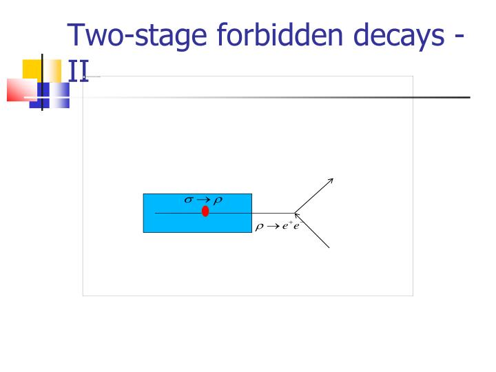 Two-stage forbidden decays -II