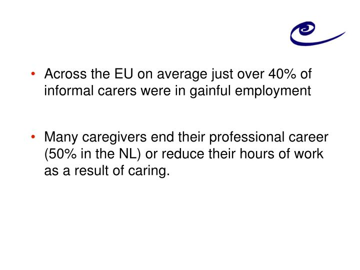 Across the EU on average just over 40% of informal carers were in gainful employment