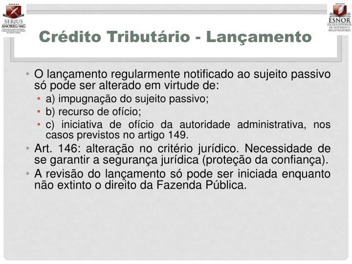Crédito Tributário - Lançamento