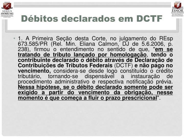 Débitos declarados em DCTF