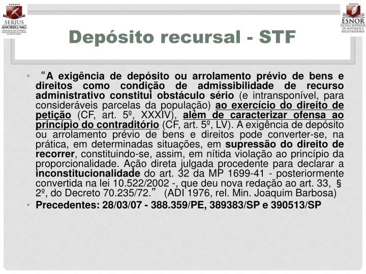 Depósito recursal - STF