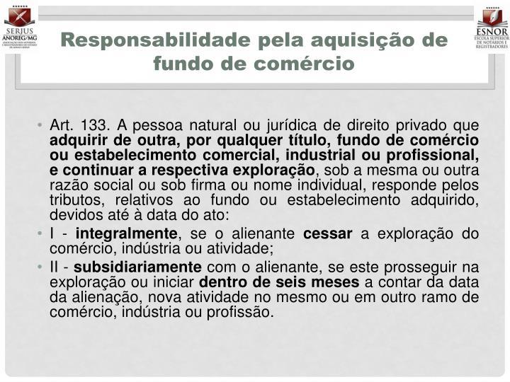 Responsabilidade pela aquisição de fundo de comércio