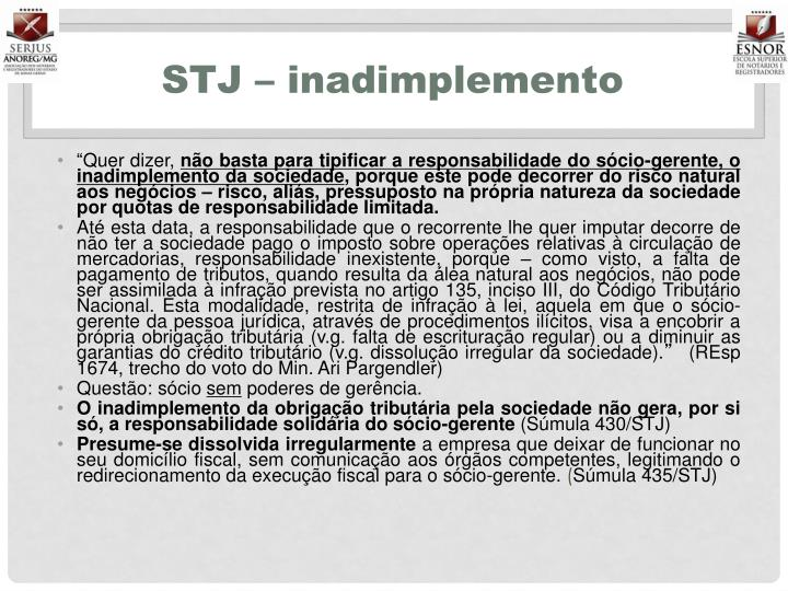 STJ – inadimplemento