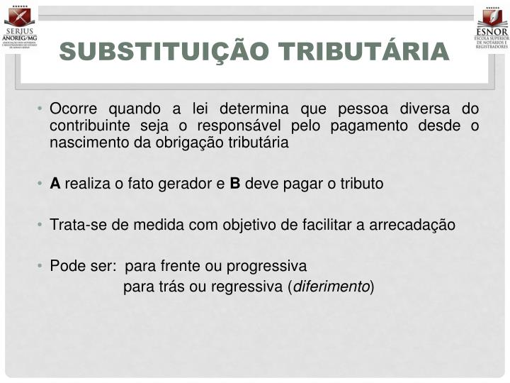 SUBSTITUIÇÃO TRIBUTÁRIA
