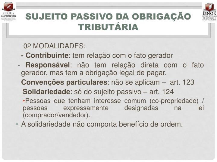 SUJEITO PASSIVO DA OBRIGAÇÃO TRIBUTÁRIA