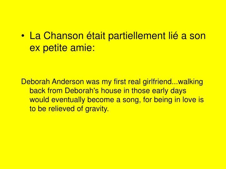 La Chanson était partiellement lié a son ex petite amie: