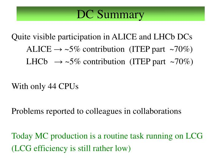 DC Summary