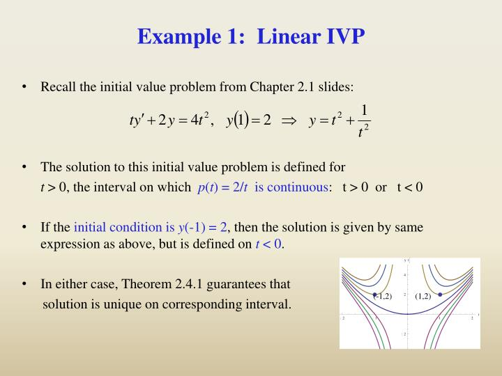 Example 1:  Linear IVP