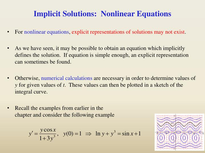 Implicit Solutions:  Nonlinear Equations