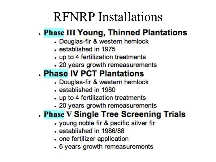 RFNRP Installations