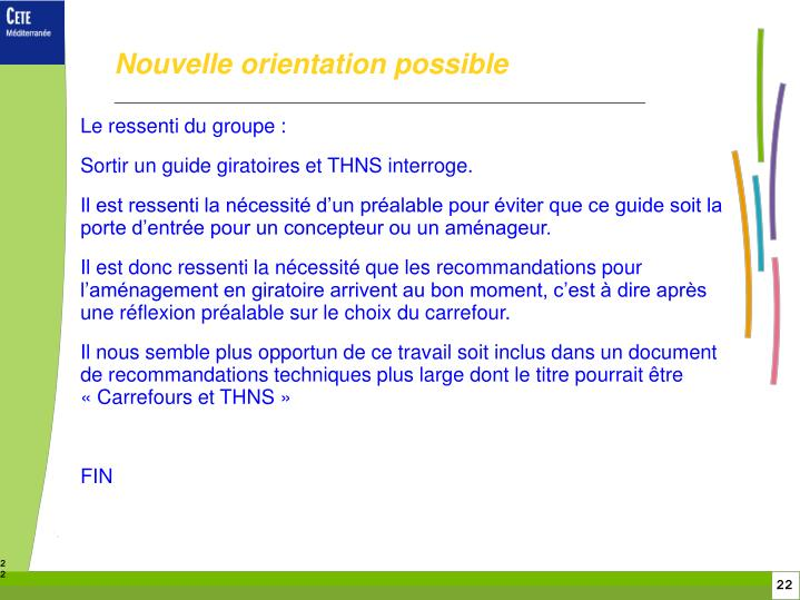 Nouvelle orientation possible