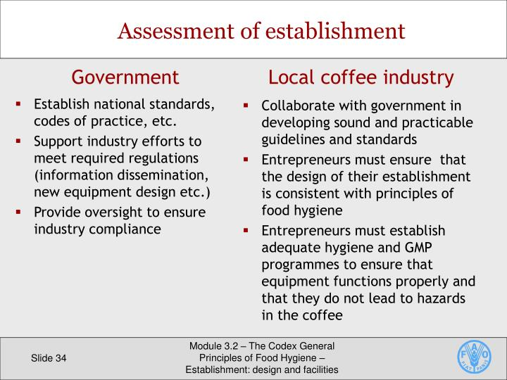 Assessment of establishment