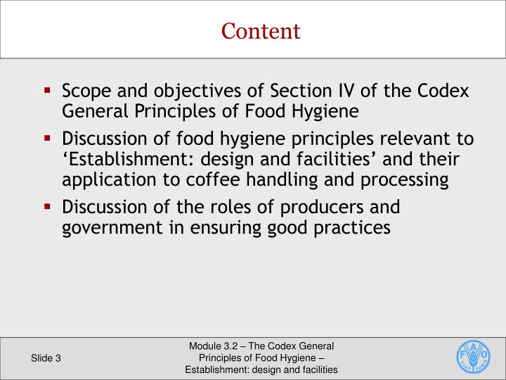 Scope and objectives of Section IV of the Codex General Principles of Food Hygiene
