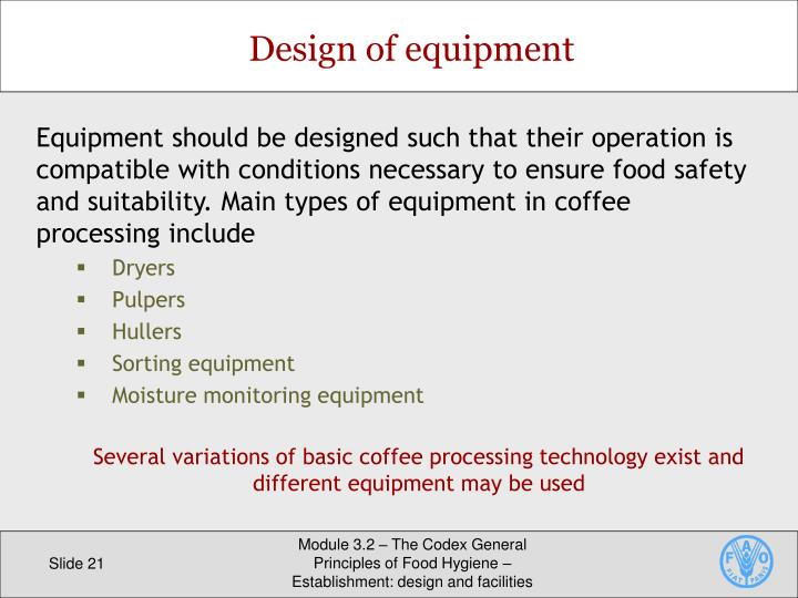 Design of equipment