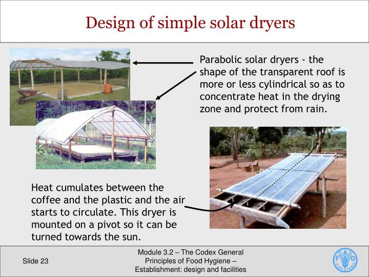 Design of simple solar dryers