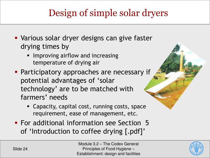 Design of simple solar dryers