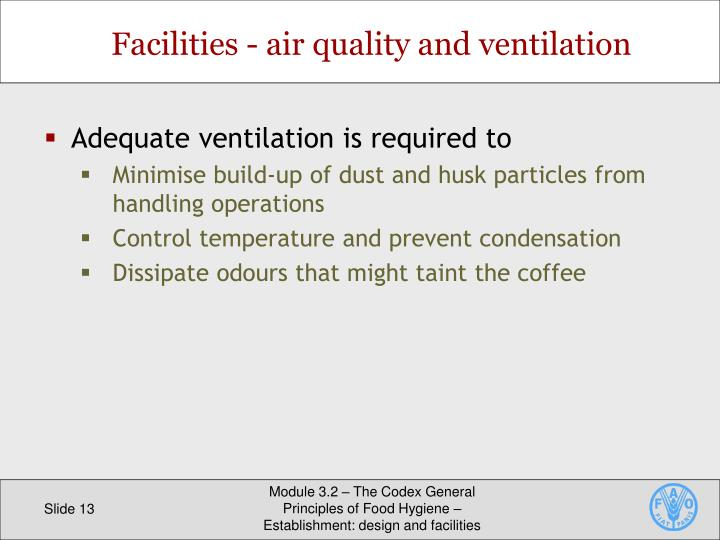 Facilities - air quality and ventilation