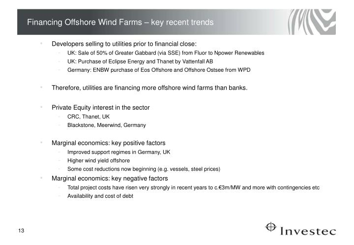 Financing Offshore Wind Farms – key recent trends