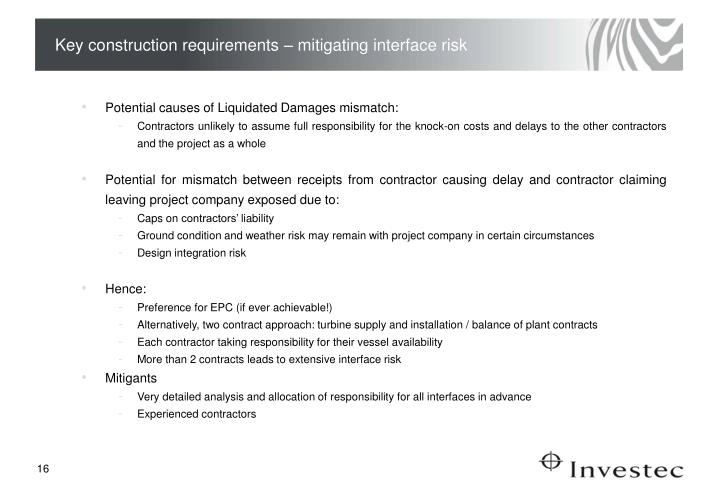 Key construction requirements – mitigating interface risk