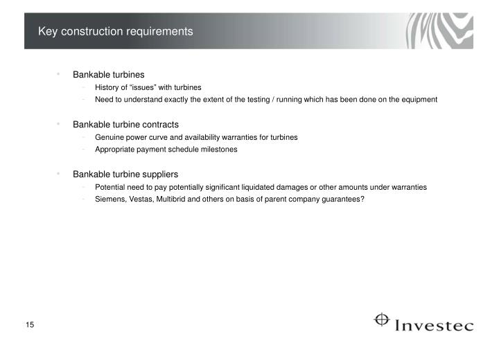 Key construction requirements