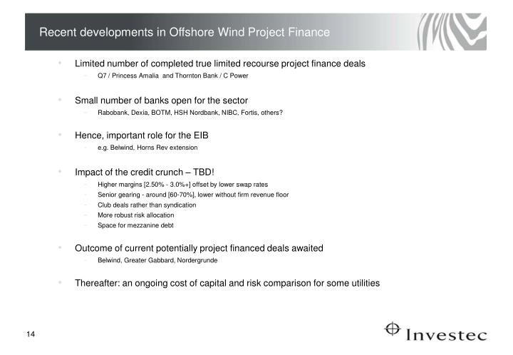 Recent developments in Offshore Wind Project Finance