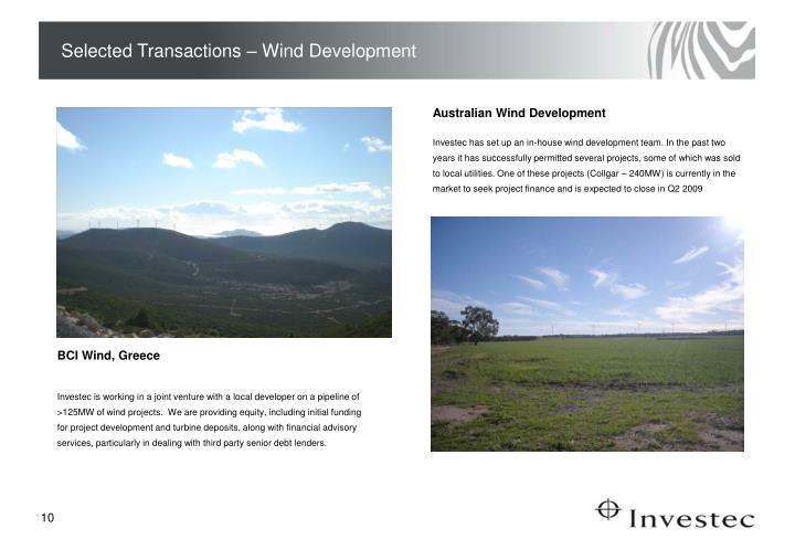Selected Transactions – Wind Development