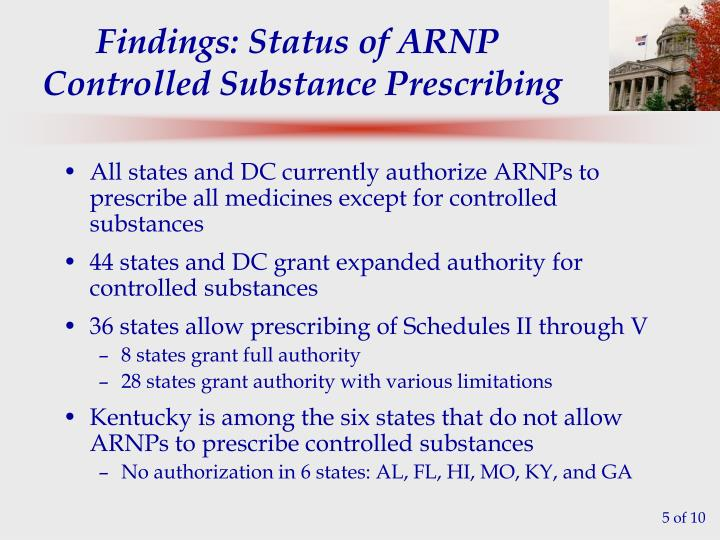 All states and DC currently authorize ARNPs to prescribe all medicines except for controlled substances