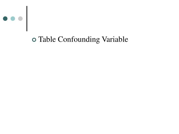 Table Confounding Variable