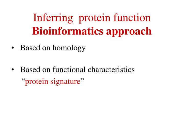 Inferring  protein function