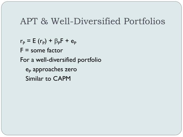 APT & Well-Diversified Portfolios