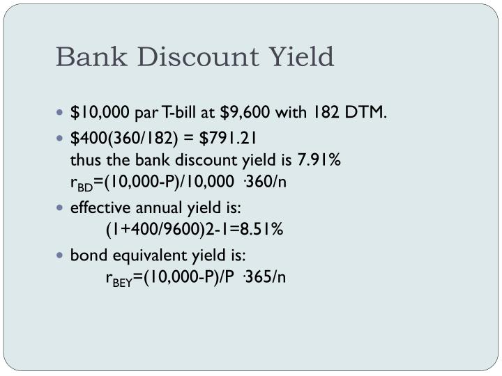 Bank Discount Yield