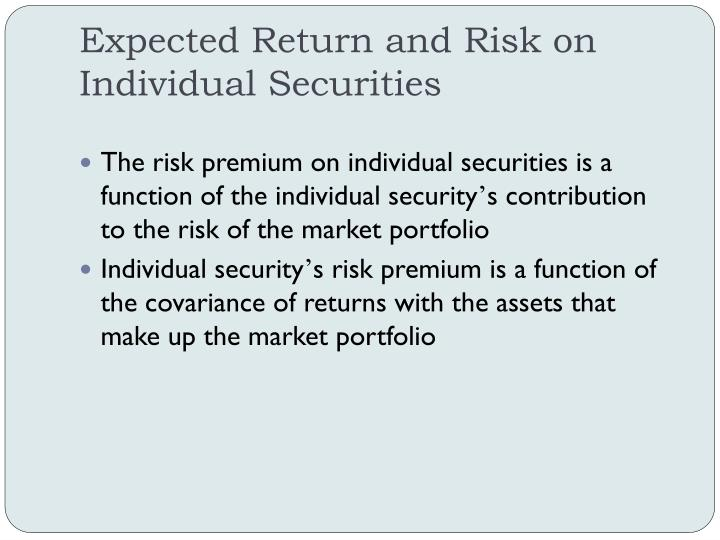 Expected Return and Risk on
