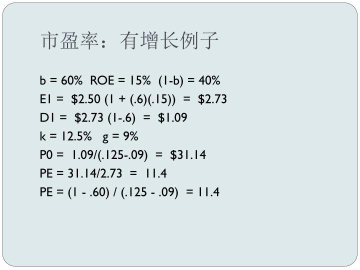市盈率:有增长例子