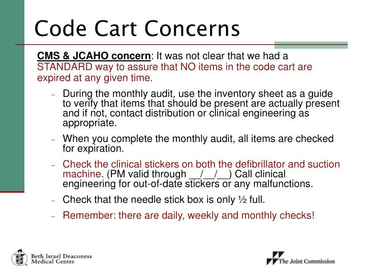 Code Cart Concerns