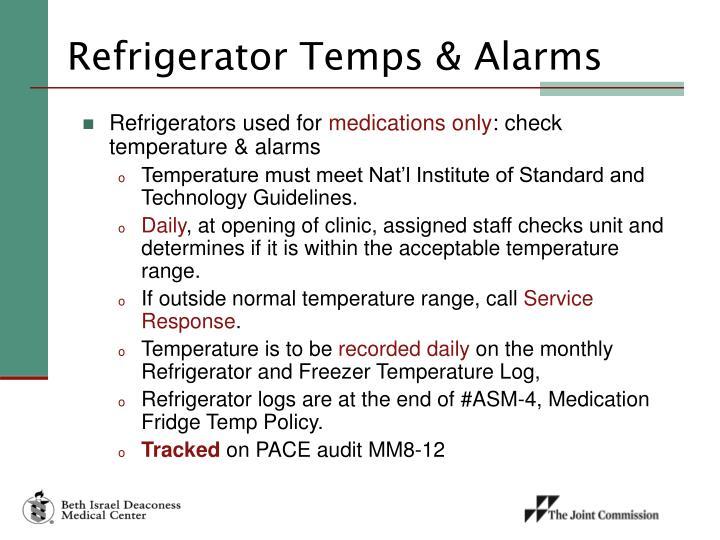 Refrigerator Temps & Alarms