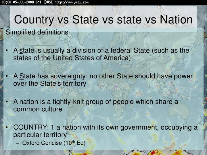 Country vs State vs state vs Nation