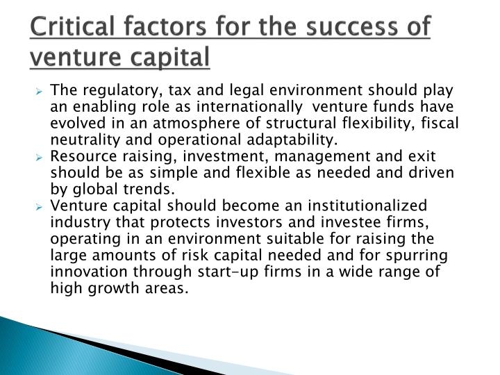 Critical factors for the success of venture capital