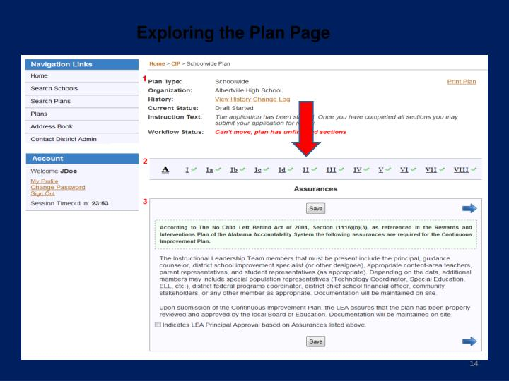 Exploring the Plan Page