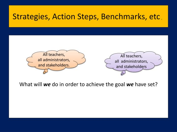 Strategies, Action Steps, Benchmarks, etc