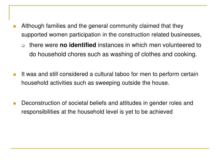 Although families and the general community claimed that they supported women participation in the construction related businesses,