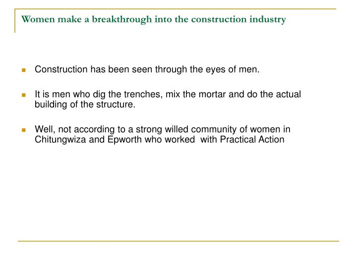 Women make a breakthrough into the construction industry