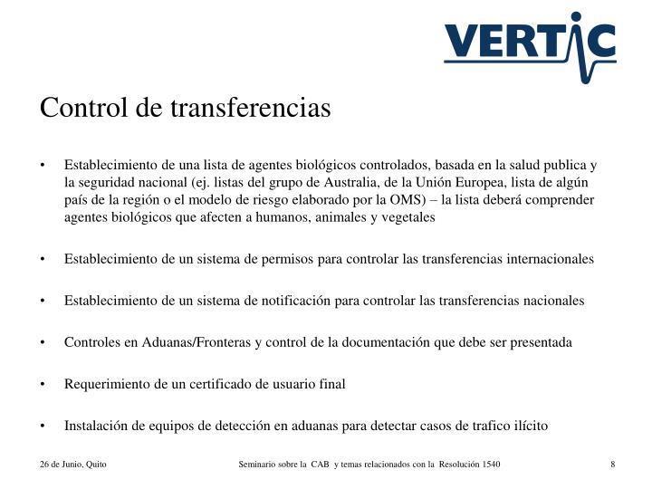 Control de transferencias