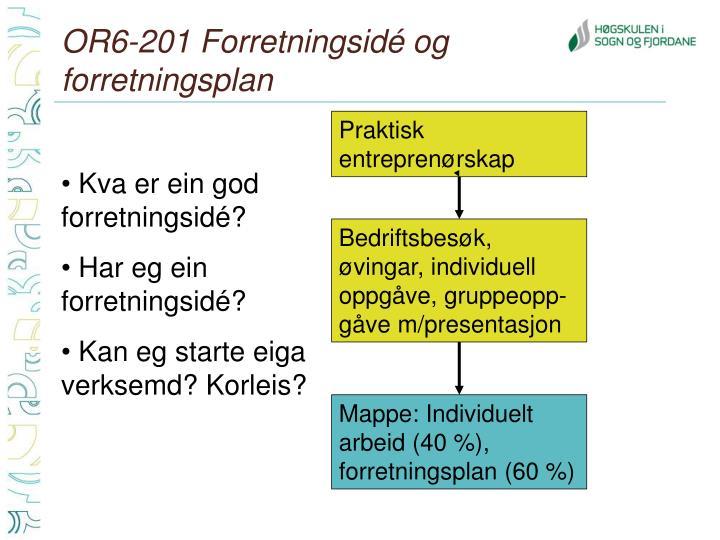 OR6-201 Forretningsidé og forretningsplan