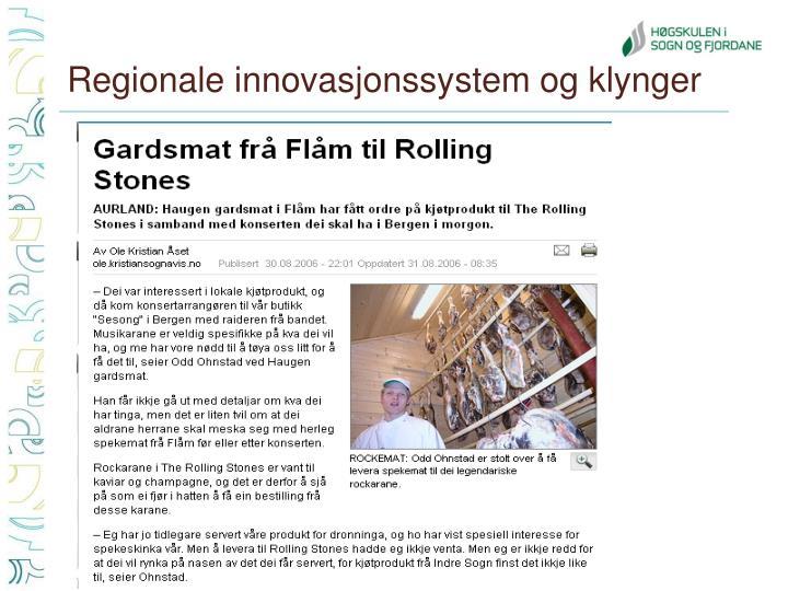 Regionale innovasjonssystem og klynger